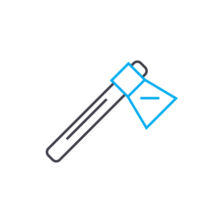 Hatchet vector thin line stroke icon. Hatchet outline illustration, linear sign, symbol isolated concept.