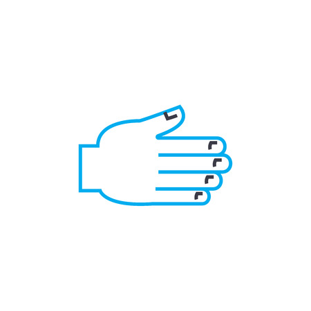 Helping hand vector thin line stroke icon. Helping hand outline illustration, linear sign, symbol isolated concept. Çizim