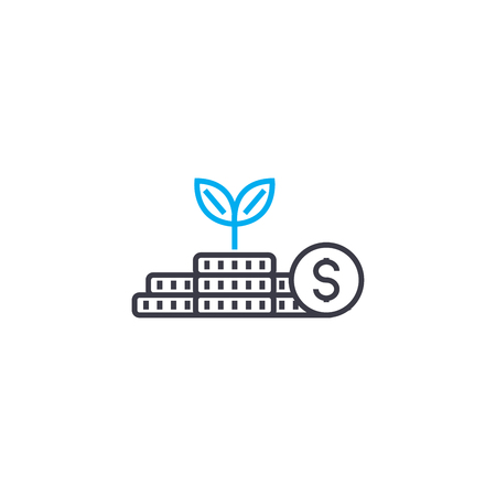 Income from investments vector thin line stroke icon. Income from investments outline illustration, linear sign, symbol isolated concept.