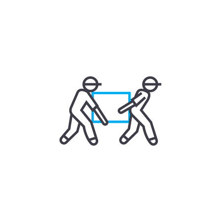 Loaders vector thin line stroke icon. Loaders outline illustration, linear sign, symbol isolated concept. Illustration
