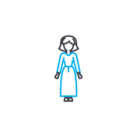Long dress vector thin line stroke icon. Long dress outline illustration, linear sign, symbol isolated concept. Foto de archivo - 101255479