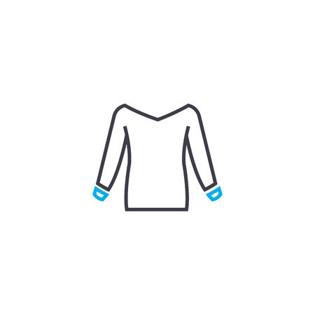 Long sleeve sweatshirt vector thin line stroke icon. Long sleeve sweatshirt outline illustration, linear sign, symbol isolated concept.