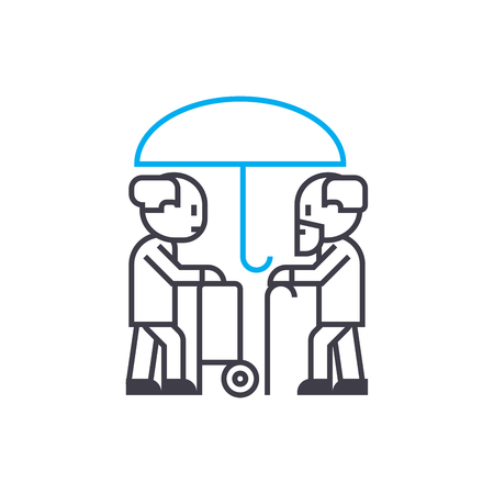 Longevity insurance vector thin line stroke icon. Longevity insurance outline illustration, linear sign, symbol isolated concept.