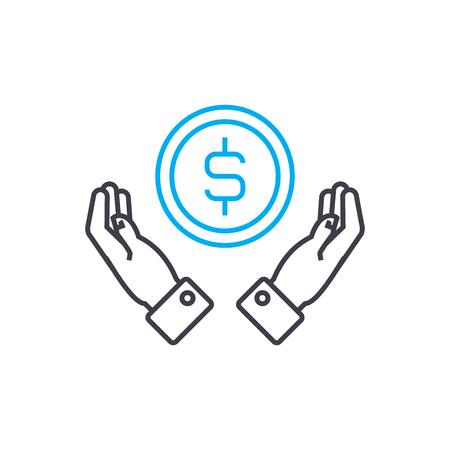 Low profitability vector thin line stroke icon. Low profitability outline illustration, linear sign, symbol isolated concept.
