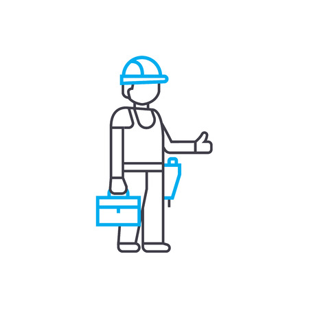 Master builder vector thin line stroke icon. Master builder outline illustration, linear sign, symbol isolated concept.