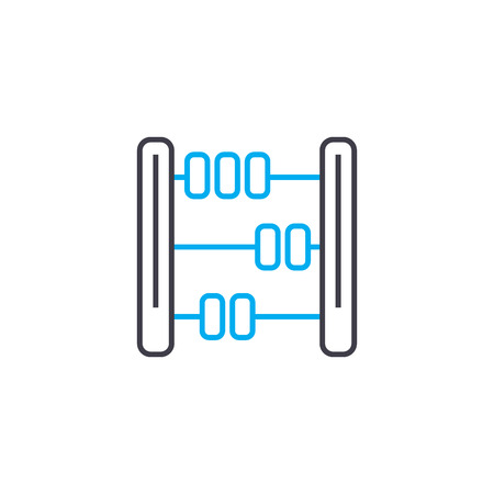 Mathematical calculations vector thin line stroke icon. Mathematical calculations outline illustration, linear sign, symbol isolated concept.