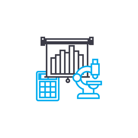 Means of analytics vector thin line stroke icon. Means of analytics outline illustration, linear sign, symbol isolated concept.