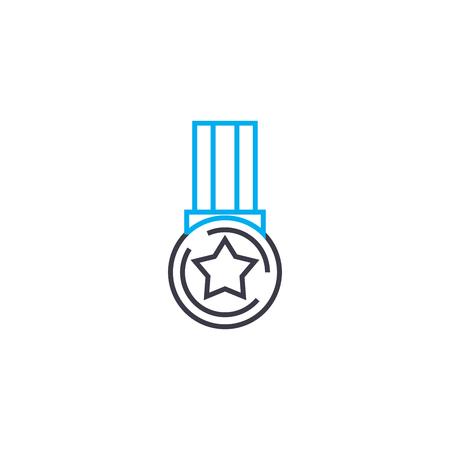 Medal of achievement vector thin line stroke icon. Medal of achievement outline illustration, linear sign, symbol isolated concept. Archivio Fotografico - 101255497