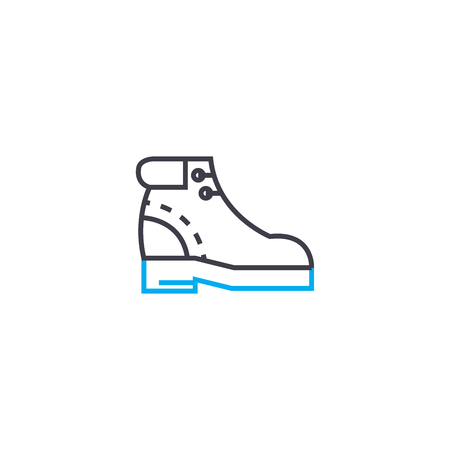 Mens boots vector thin line stroke icon. Mens boots outline illustration, linear sign, symbol isolated concept.