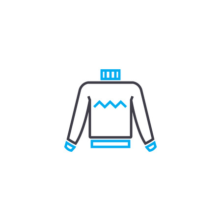 Mens sweatshirt vector thin line stroke icon. Mens sweatshirt outline illustration, linear sign, symbol isolated concept.