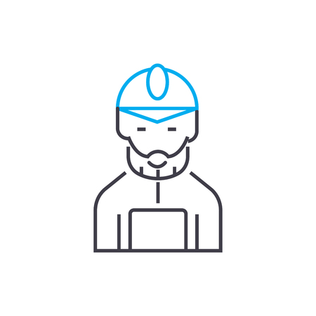Mine worker vector thin line stroke icon. Mine worker outline illustration, linear sign, symbol isolated concept.