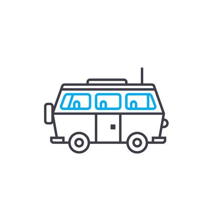 Minivan vector thin line stroke icon. Minivan outline illustration, linear sign, symbol isolated concept.
