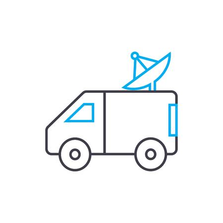 Mobile locator vector thin line stroke icon. Mobile locator outline illustration, linear sign, symbol isolated concept. Archivio Fotografico - 101255529