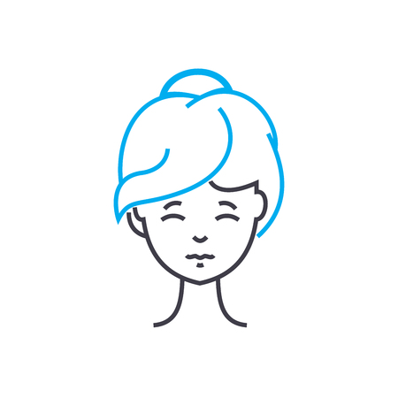 Model haircut vector thin line stroke icon. Model haircut outline illustration, linear sign, symbol isolated concept.