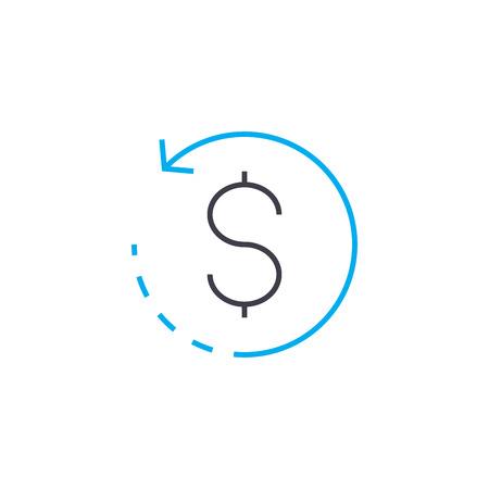 Money circulation vector thin line stroke icon. Money circulation outline illustration, linear sign, symbol isolated concept.