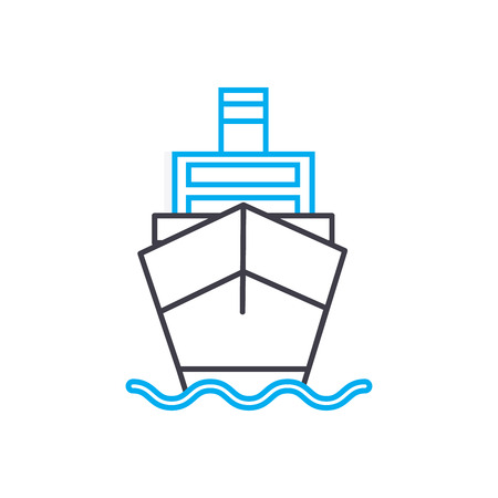 Motor vessel vector thin line stroke icon. Motor vessel outline illustration, linear sign, symbol isolated concept. Ilustração