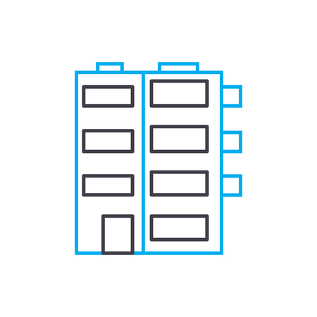Multi storey buildings vector thin line stroke icon. Multi storey buildings outline illustration, linear sign, symbol isolated concept.