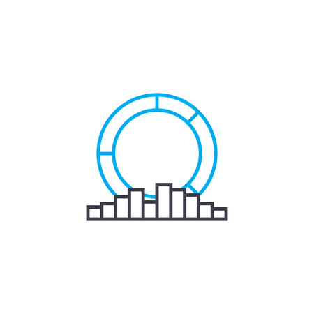 Multilateral analysis vector thin line stroke icon. Multilateral analysis outline illustration, linear sign, symbol isolated concept. Stock Illustratie