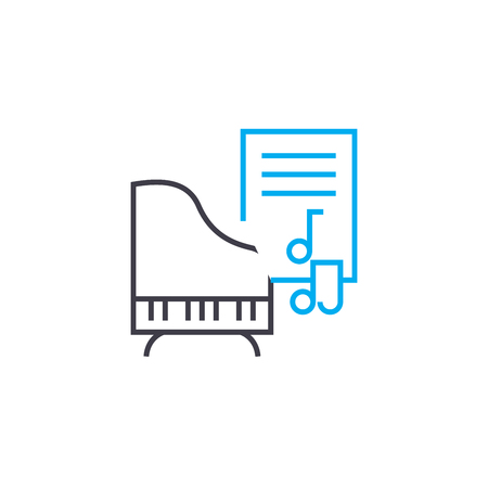 Music lessons vector thin line stroke icon. Music lessons outline illustration, linear sign, symbol isolated concept. Stock Illustratie
