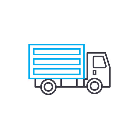 Refrigerated truck vector thin line stroke icon. Refrigerated truck outline illustration, linear sign, symbol isolated concept.