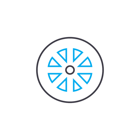 Replacement rim vector thin line stroke icon. Replacement rim outline illustration, linear sign, symbol isolated concept.