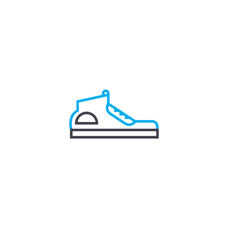 Running shoes vector thin line stroke icon. Running shoes outline illustration, linear sign, symbol isolated concept. Stock Illustratie