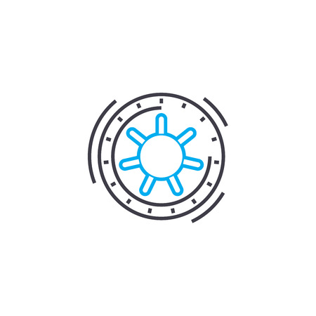 Safe depositing vector thin line stroke icon. Safe depositing outline illustration, linear sign, symbol isolated concept.