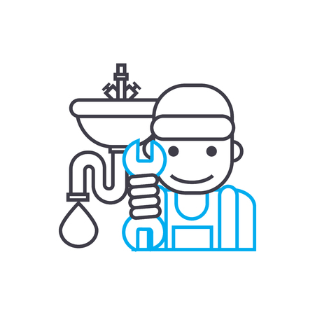 Sanitary technician vector thin line stroke icon. Sanitary technician outline illustration, linear sign, symbol isolated concept.