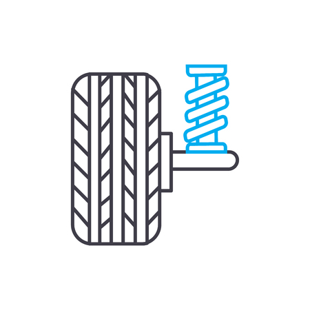 Shock absorbers vector thin line stroke icon. Shock absorbers outline illustration, linear sign, symbol isolated concept.