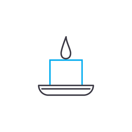 Paraffin candle vector thin line stroke icon. Paraffin candle outline illustration, linear sign, symbol isolated concept.