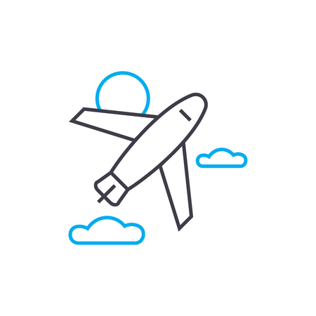 Pursuit plane vector thin line stroke icon. Pursuit plane outline illustration, linear sign, symbol isolated concept. Banque d'images - 101246395