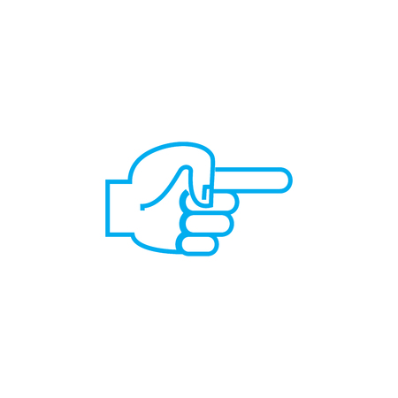 Pointing out the place vector thin line stroke icon. Pointing out the place outline illustration, linear sign, symbol isolated concept. Ilustração
