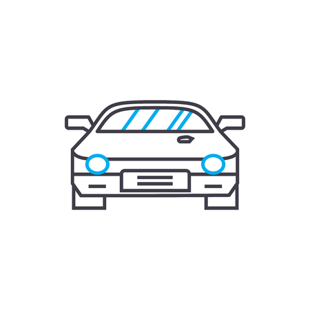 Racing car vector thin line stroke icon. Racing car outline illustration, linear sign, symbol isolated concept. Foto de archivo - 101246415