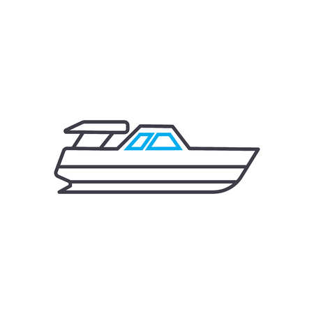 Powerboat vector thin line stroke icon. Powerboat outline illustration, linear sign, symbol isolated concept. Illustration