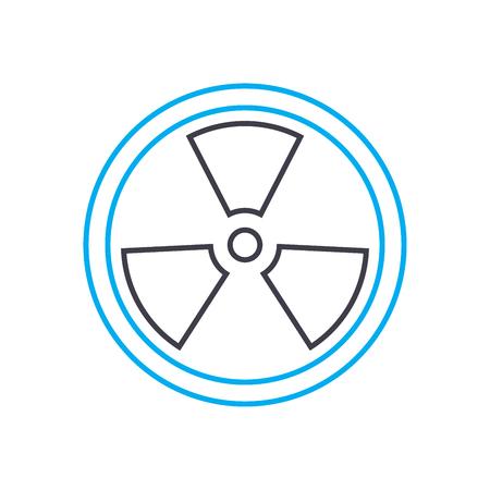 Icône de trait de fine ligne vecteur analyse radioactive. Illustration de contour d'analyse radioactive, signe linéaire, concept isolé de symbole.