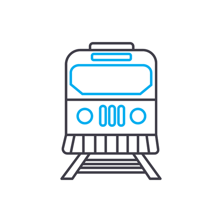 Railway vector thin line stroke icon. Railway outline illustration, linear sign, symbol isolated concept. Ilustrace