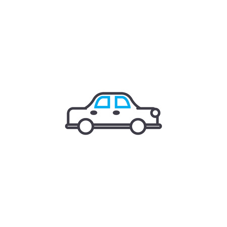 Sedan car vector thin line stroke icon. Sedan car outline illustration, linear sign, symbol isolated concept. Banque d'images - 101247952