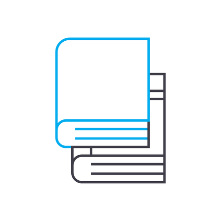 Teach yourself books vector thin line stroke icon. Teach yourself books outline illustration, linear sign, symbol isolated concept.