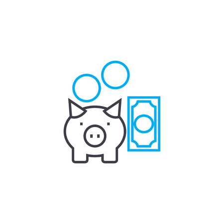 Reserve fund vector thin line stroke icon. Reserve fund outline illustration, linear sign, symbol isolated concept.