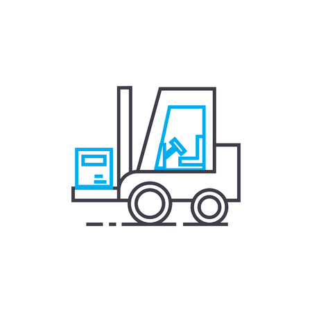 Warehouse works vector thin line stroke icon. Warehouse works outline illustration, linear sign, symbol isolated concept.