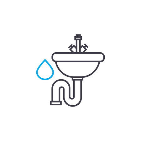 Water supply system vector thin line stroke icon. Water supply system outline illustration, linear sign, symbol isolated concept.
