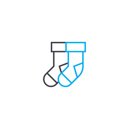 Pair of socks vector thin line stroke icon. Pair of socks outline illustration, linear sign, symbol isolated concept. Illustration