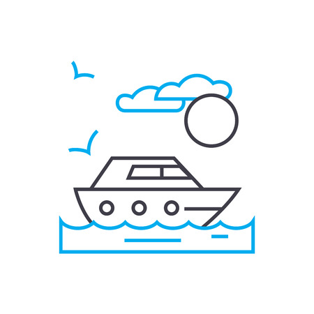 Private yacht vector thin line stroke icon. Private yacht outline illustration, linear sign, symbol isolated concept.
