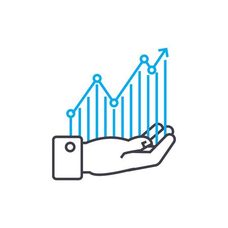 Monitoreo de rentabilidad vector icono de trazo de línea delgada. Ilustración de esquema de seguimiento de rentabilidad, signo lineal, concepto aislado de símbolo.