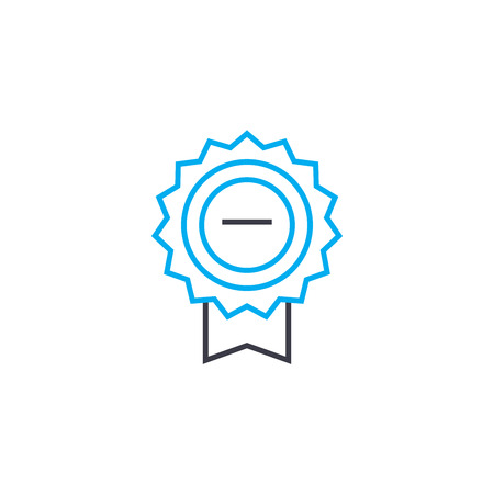 Proof of award vector thin line stroke icon. Proof of award outline illustration, linear sign, symbol isolated concept.
