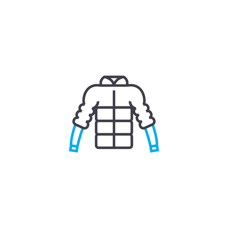 Puffy jacket vector thin line stroke icon. Puffy jacket outline illustration, linear sign, symbol isolated concept.