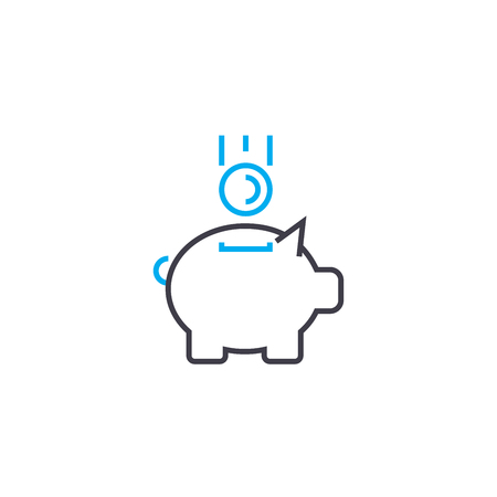 Replenishment of fund vector thin line stroke icon. Replenishment of fund outline illustration, linear sign, symbol isolated concept. Illustration