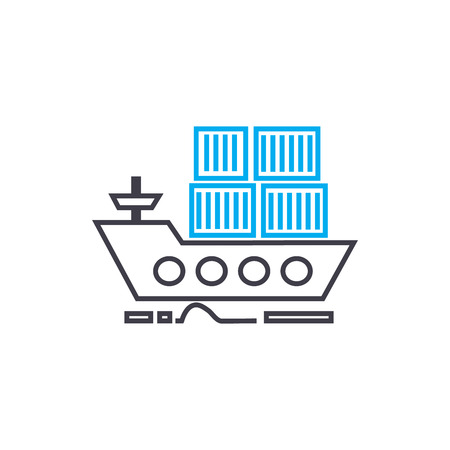 Sea container transportation vector thin line stroke icon. Sea container transportation outline illustration, linear sign, symbol isolated concept.