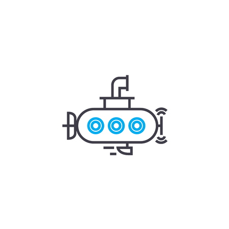 Small submarine vector thin line stroke icon. Small submarine outline illustration, linear sign, symbol isolated concept. Ilustrace