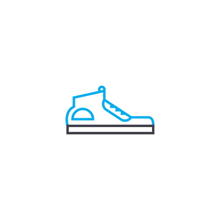 Sport shoes vector thin line stroke icon. Sport shoes outline illustration, linear sign, symbol isolated concept. Çizim